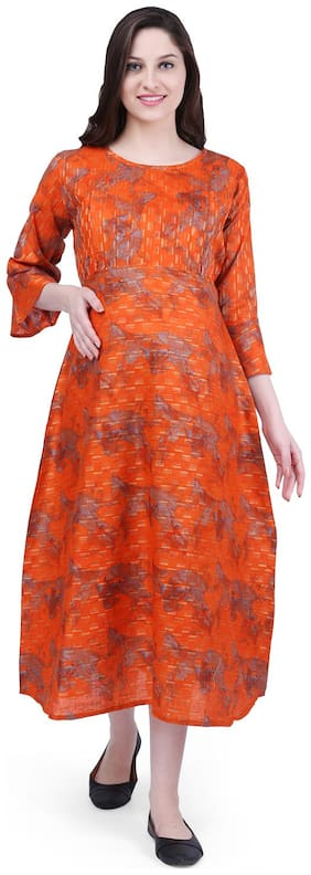 Momtobe Women Maternity Dress - Orange L