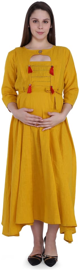 Momtobe Women Maternity Dress - Yellow Xxl