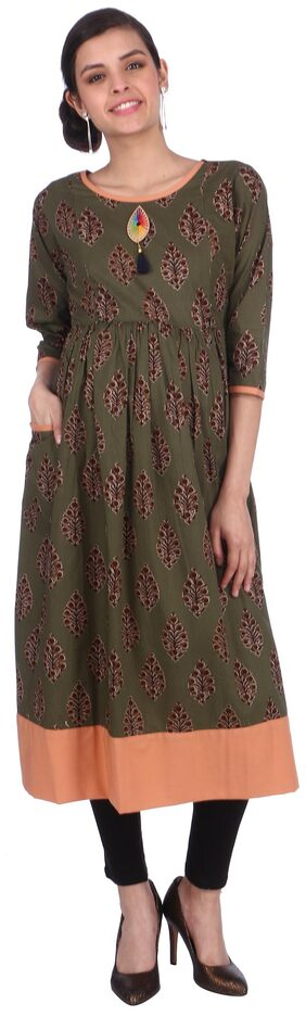 MomToBe Women Cotton Basil Green Maternity Kurti