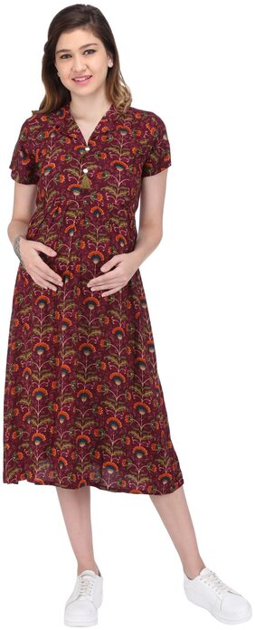 MomToBe Women's Rayon Plum Purple Maternity Dress