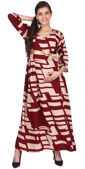 Momtobe Women Maternity Dress - Maroon L