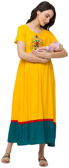 Momtobe Women Maternity Dress - Yellow M