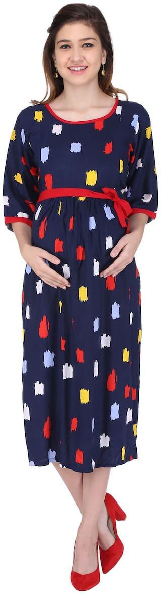 Momtobe Women Maternity Dress - Blue Xl