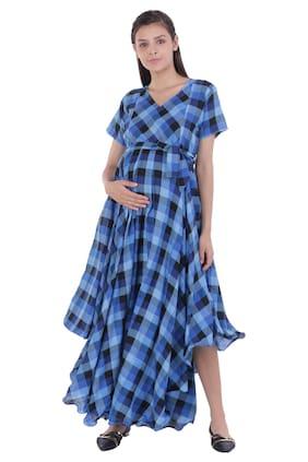 Momtobe Women Maternity Dress - Blue L