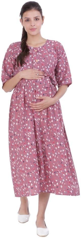 Momtobe Women Maternity Dress - Pink L