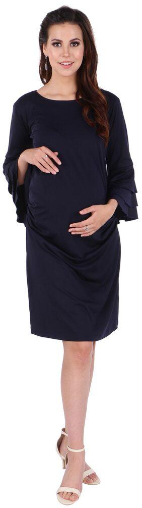 MomToBe Women's Poly-Spandex Oxford Blue Maternity Dress