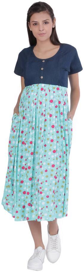Momtobe Women Maternity Dress - Blue & Green Xl