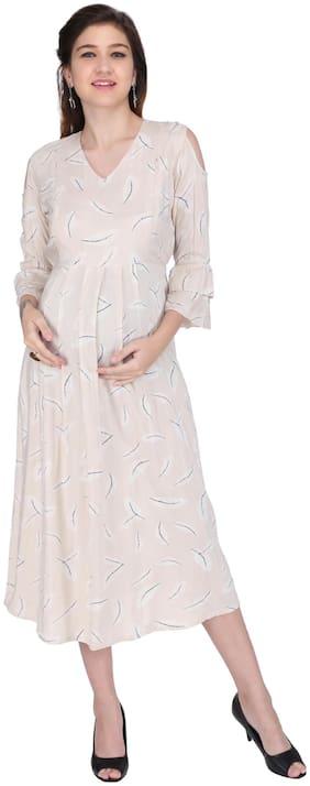 Momtobe Women Maternity Dress - Cream 3xl
