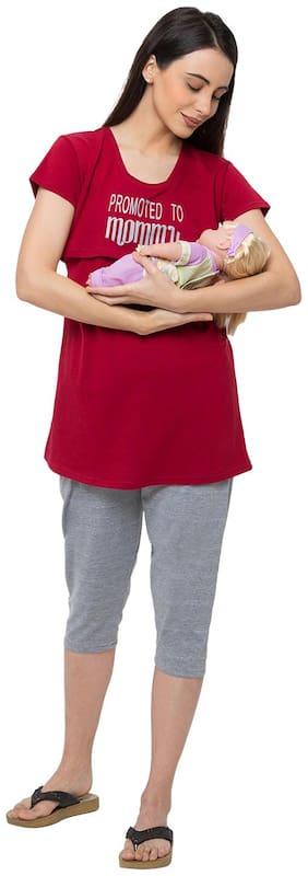 Momtobe Women Cotton Printed Maroon  Maternity Wear