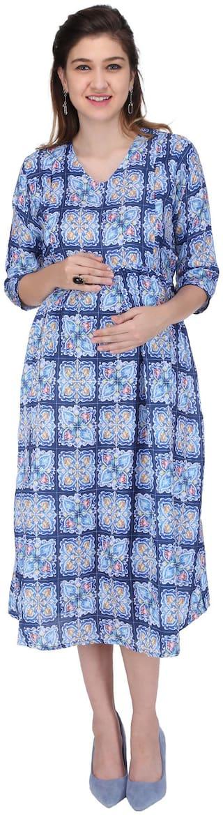 Momtobe Women Maternity Dress - Blue Xxl