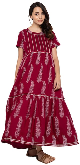 Momtobe Women Maternity Dress - Maroon Xxl