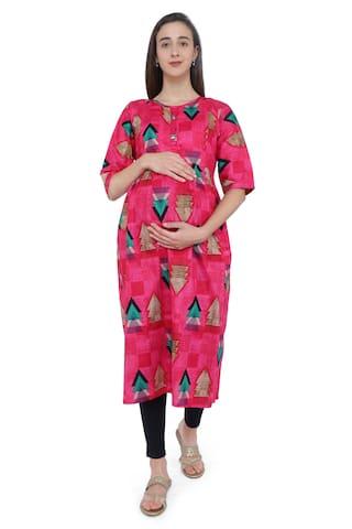 Momtobe Women Maternity Kurta - Pink L
