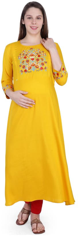 Momtobe Women Maternity Kurta - Yellow M