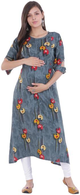 Momtobe Women Maternity Kurta - Grey M