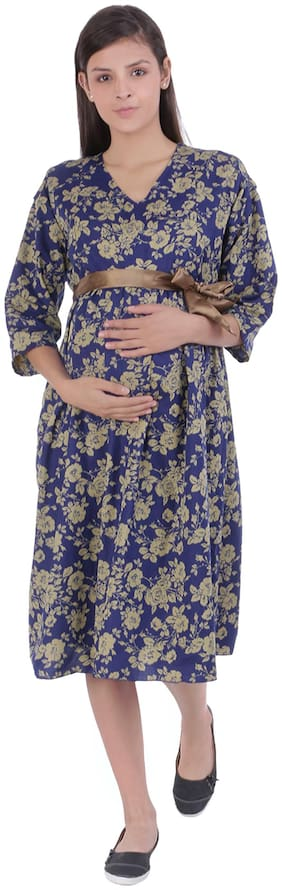 Momtobe Women Maternity Dress - Blue & Beige Xxl