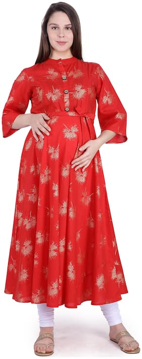 Momtobe Women Maternity Kurta - Red Xxl