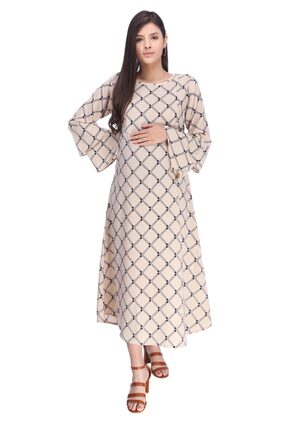 MomToBe Women Georgette Buttermilk Beige Maternity Dress