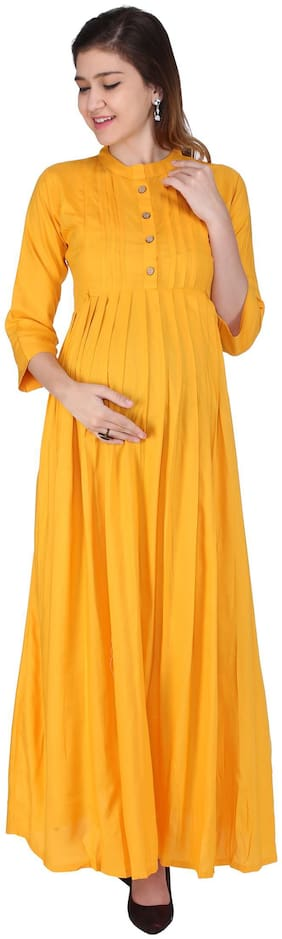 Momtobe Women Maternity Dress - Yellow L