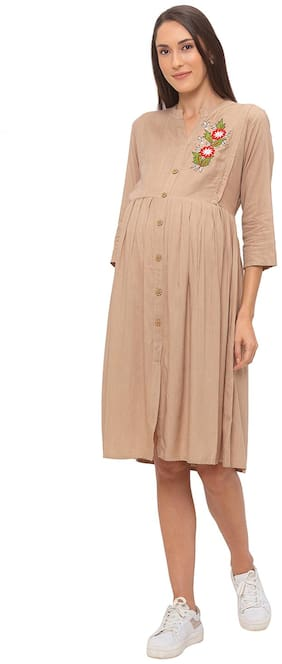Momtobe Women Maternity Dress - Beige Xl