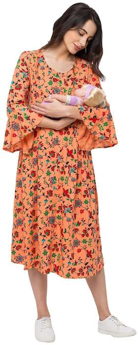 Momtobe Women Maternity Dress - Orange Xl