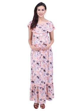 MomToBe Women's Hosiery Salmon Peach Maternity Dress