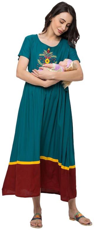 Momtobe Women Maternity Dress - Green L