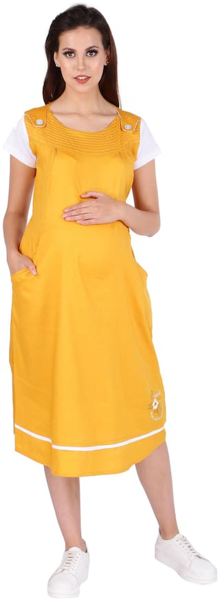 Momtobe Women Maternity Kurta - Yellow L