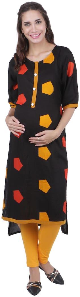 Momtobe Women Maternity Kurta - Black L