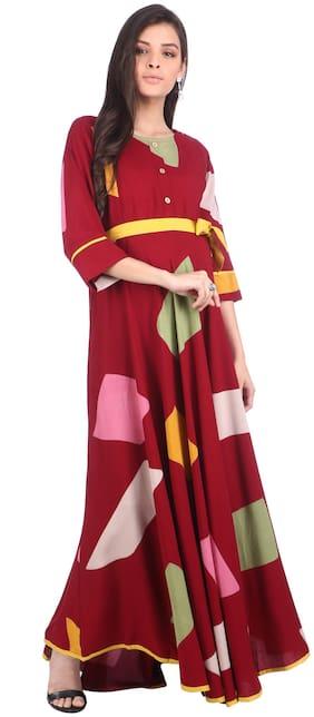 Momtobe Women Maternity Dress - Maroon M