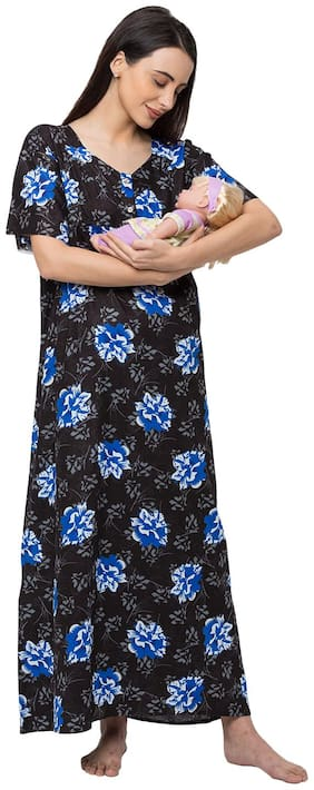 Momtobe Women Cotton Floral Black  Maternity Wear