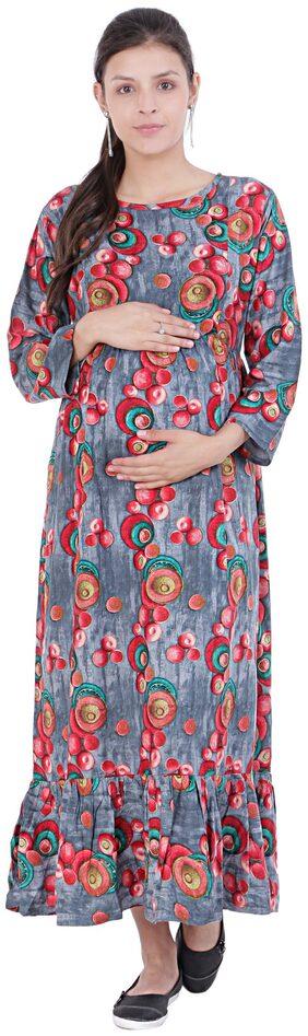MomToBe Women Rayon Carolina Multi Maternity Dress