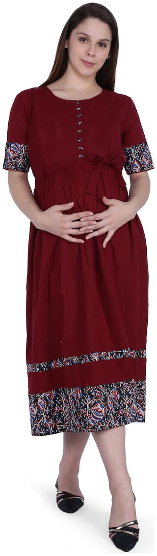 Momtobe Women Maternity Dress - Maroon M