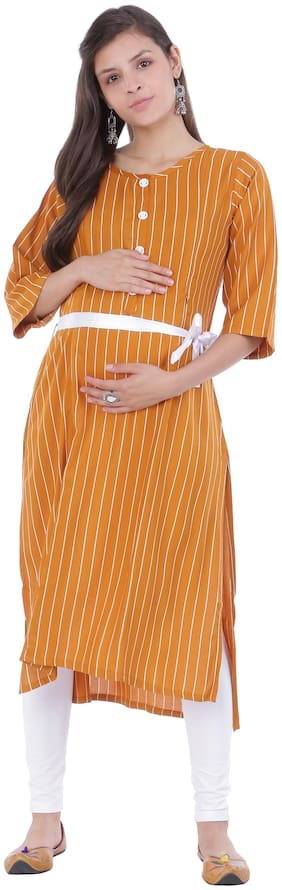 Momtobe Women Maternity Kurta - Yellow Xxl