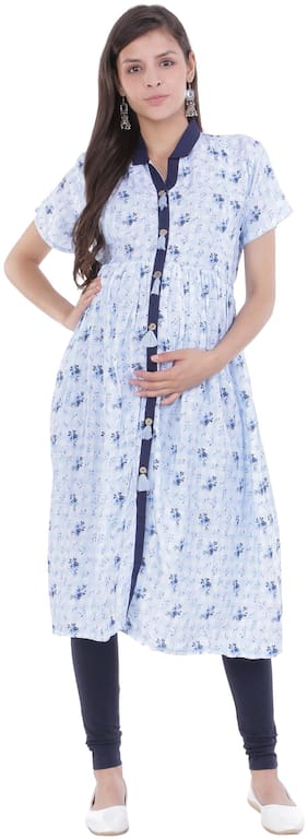 Momtobe Women Maternity Kurta - Blue Xl