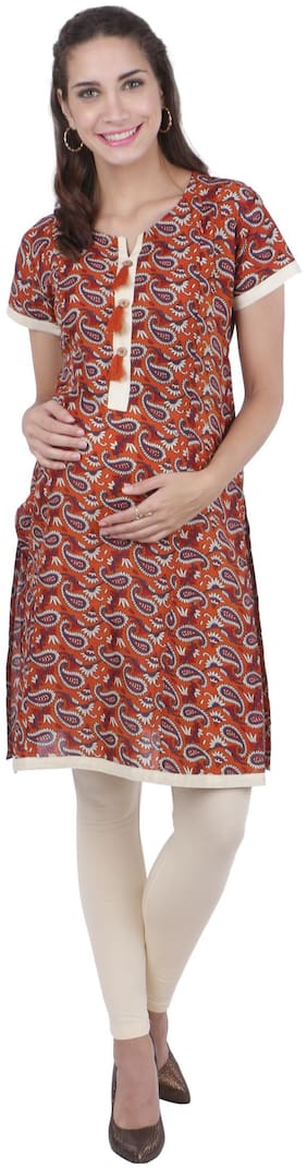 Momtobe Women Maternity Kurta - Orange Xxl