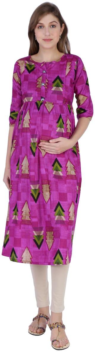 Momtobe Women Maternity Kurta - Purple L