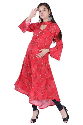 Momtobe Women Maternity Kurta - Red Xl