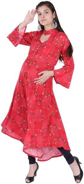 Momtobe Women Maternity Kurta - Red Xl