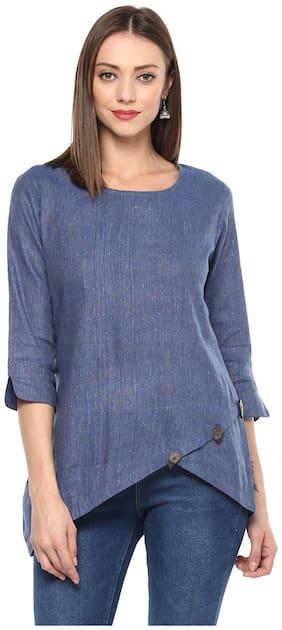 MON ANGE Women Cotton Solid - Regular top Blue