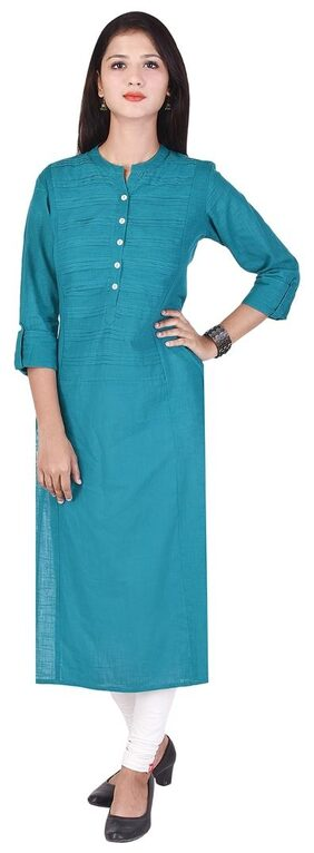 MON ANGE TURQUISE Color Cotton Straight Solid Kurti