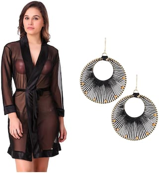 Mona Sexy & Stylish Net Robe With 1 Pair Earring Free