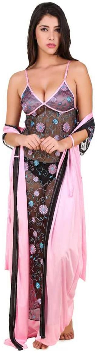 Mona Sexy & Stylish Net Nighty With Embroidered Work & Satin Long Robe
