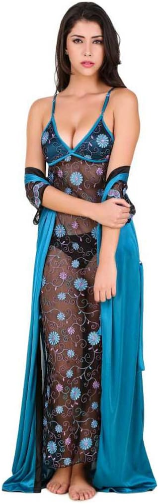Mona Sexy & Stylish Net Nighty With Embroidered Work & Satin Long Robe