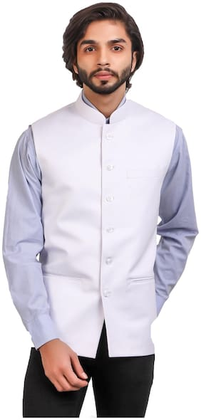 MONK JEANS Men White Solid Regular Fit Ethnic Jacket