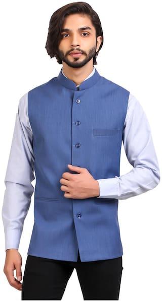 MONK JEANS Men Blue Solid Regular Fit Ethnic Jacket