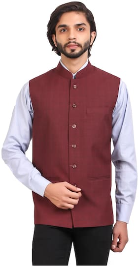 MONK JEANS Men Maroon Checked Regular Fit Ethnic Jacket