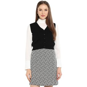 Monte Carlo Black Solid Pure Wool Front Open Blouse