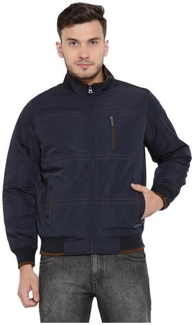 Monte Carlo Blue Solid Polyester Polo Collar Jackets