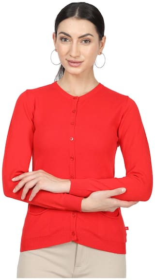 Monte Carlo Women Solid Cardigan - Red