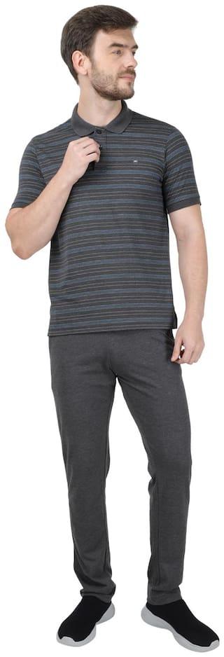 Monte Carlo Men Grey Striped Regular Fit Track Suit